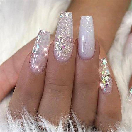 acrylic nails ballerina shape silver - Google Search
