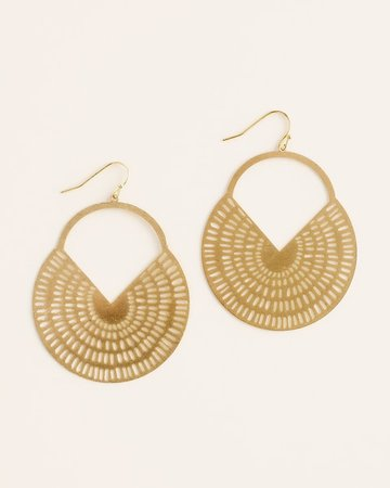 Goldtone Drop-Hoop Earrings - Women's Statement Jewelry - Earrings, Necklaces & Bracelets - Chico's