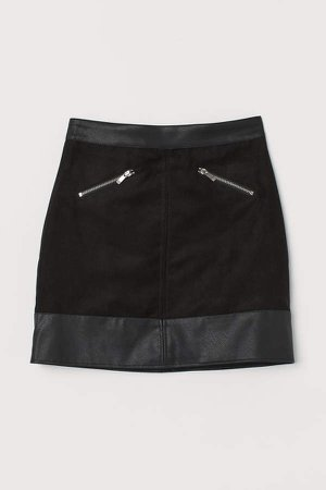 Faux Suede Skirt - Black