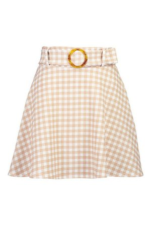 Tonal Gingham Check Horn O Ring Skater Skirt | Boohoo
