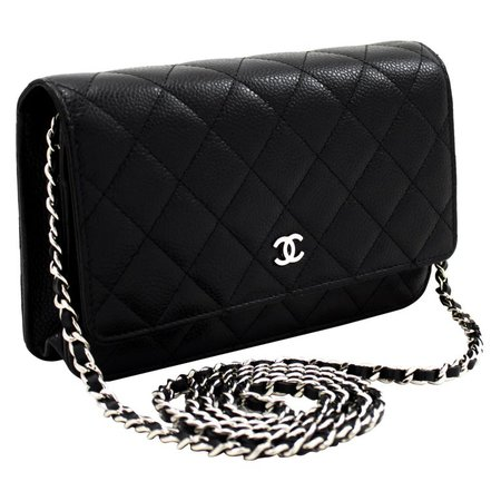 CHANEL Caviar WOC Wallet On Chain Black Shoulder Crossbody Bag Leather For Sale at 1stdibs