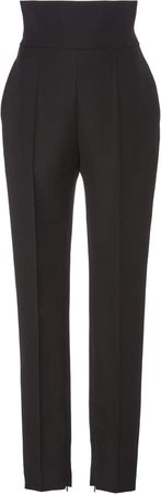 High-Rise Wool Tapered Trousers Size: 38