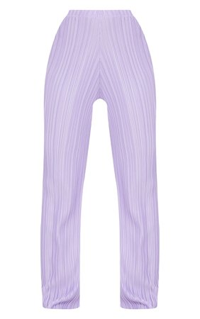 Lilac Plisse Wide Leg Trousers | Trousers | PrettyLittleThing USA