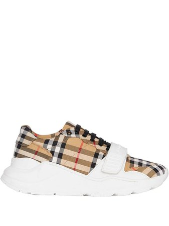 Burberry white, Yellow And Black Vintage Check Cotton Sneakers - Farfetch