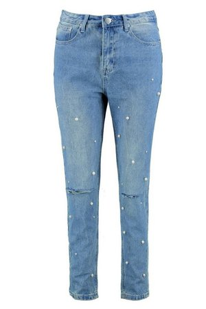 Hannah Slim Fit Pearl Detail Mom Jeans | Boohoo