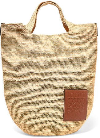 Slit Leather-trimmed Woven Raffia Tote - Tan