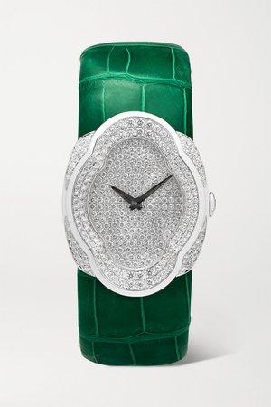 White gold Opera 28mm 18-karat white gold, alligator and diamond watch   Buccellati   NET-A-PORTER