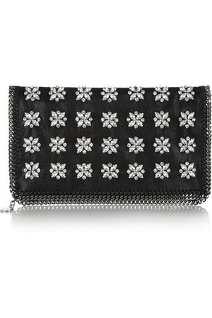 Stella McCartney The Falabella crystal-embellished faux leather clutch NET-A-PORTER.COM