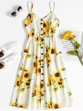 Sunflower Midi Dress | ZAFUL