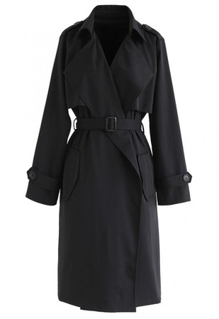 Open Front Pockets Belted Coat in Black - TOPS - Retro, Indie and Unique Fashion