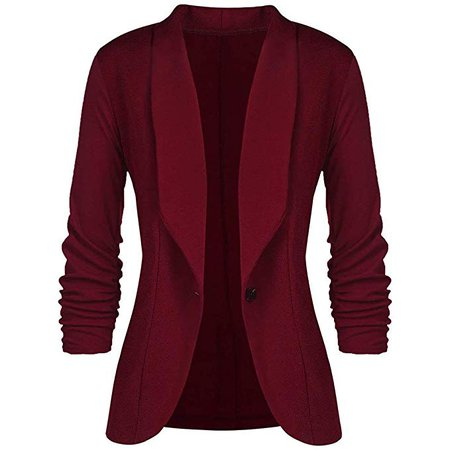 Burgundy blazer suit jacket red