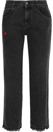 Cropped Frayed Embroidered Mid-rise Straight-leg Jeans
