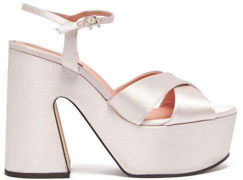 Satin Platform Sandals - White