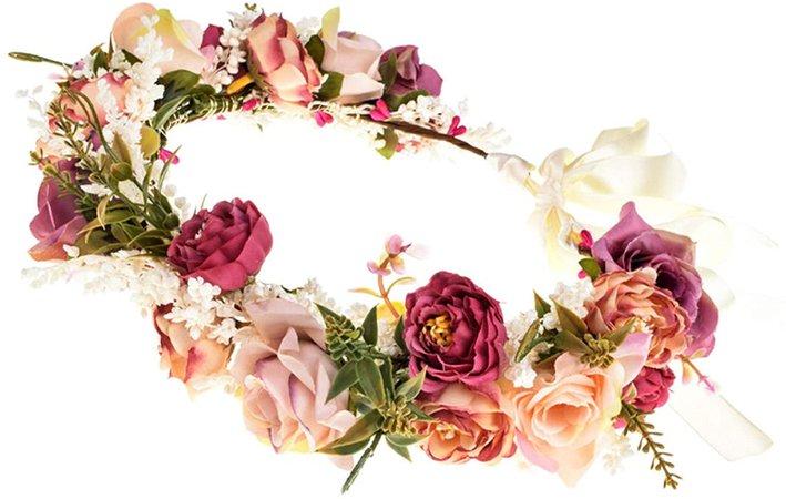 Amazon.com: Wedding Flower Crown for Girls Floral Headband Wreath Headpiece Women Halo Garland with Adjustable Ribbon Boho Festival (A): Clothing