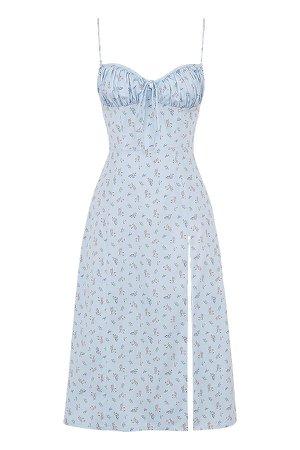 Clothing : Midi Dresses : 'Carina' Blue Floral Bustier Midi Dress