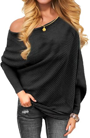 OmicGot Women's Off The Shoulder Long Sleeve Pullover Knit Jumper Baggy Solid Sweater Black