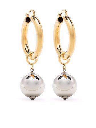 Shop Jil Sander sphere pendant hoop earrings with Express Delivery - FARFETCH