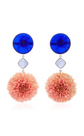 18K White Gold Dark Blue Venetian Glass Cameos Earrings by Bahina | Moda Operandi