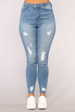 Veronica High Rise Distressed Jeans - Light Blue Wash
