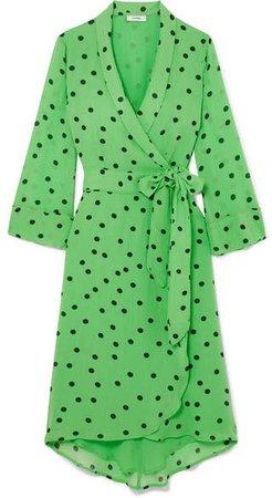 Polka-dot Georgette Wrap Dress - Green