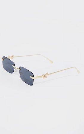 Gold Frame Black Lens Butterfly Sunglasses | PrettyLittleThing