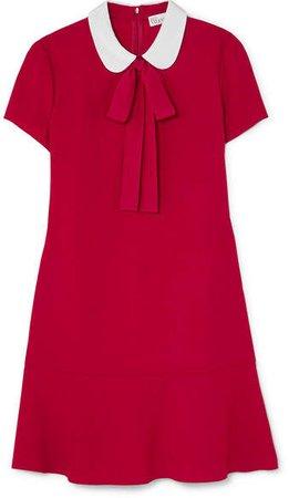 Pussy-bow Crepe De Chine Mini Dress