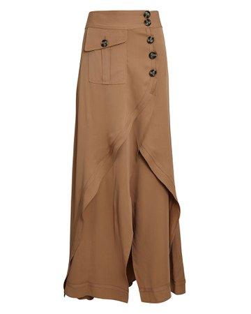 Self-Portrait Asymmetrical Layered Midi Skirt | INTERMIX®