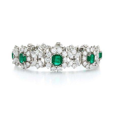 Diamond and Columbian Emerald Bracelet