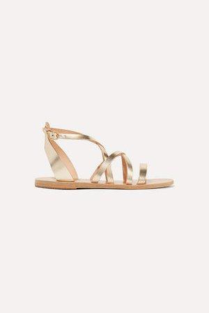 Delia Metallic Leather Sandals - Gold