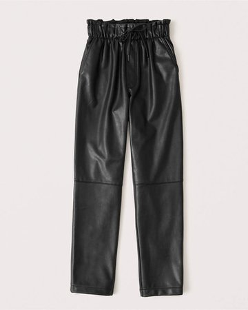 Women's Vegan Leather Pull-On Pants | Women's New Arrivals | Abercrombie.com