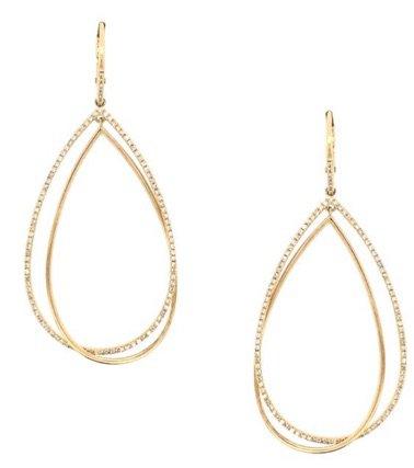 Gold Diamond Teardrop Earrings