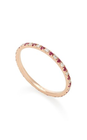 14K Rose Gold Diamond and Ruby Eternity Ring by EF Collection | Moda Operandi