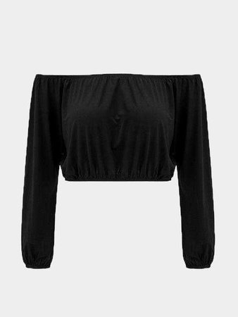 Black Off Shoulder Long Sleeves Crop Top