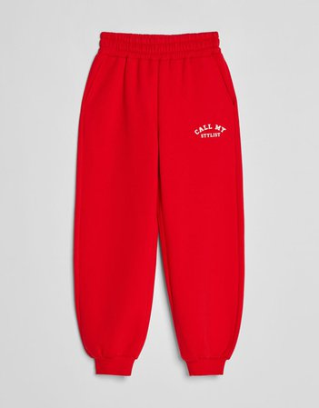 Plush printed sweatpants - Pants - Woman | Bershka