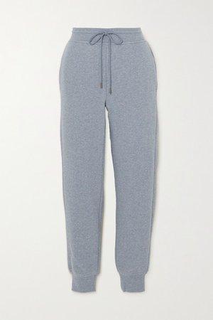 Melange Cotton-blend Jersey Track Pants - Blue