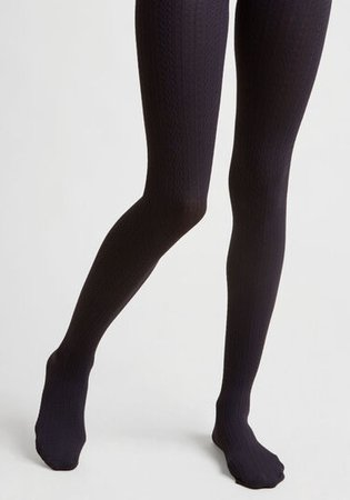 Cable for Discussion Tights in Midnight marine | ModCloth