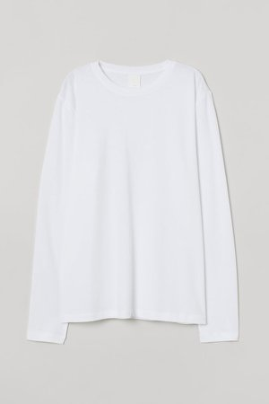 Long-sleeved Jersey Top - White