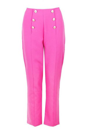 Military Button Detail Tapered Pants | boohoo pink