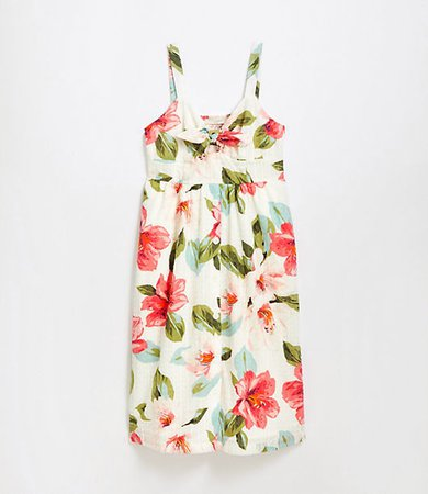 Bouquet Clip Tie Front Pocket Dress