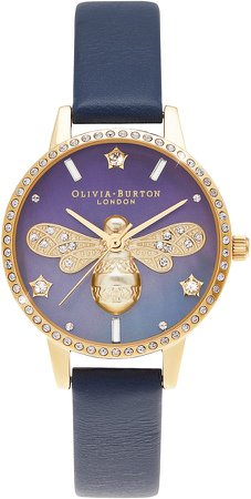 Sparkle Bee Ombre Leather Strap Watch, 30mm