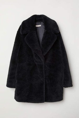 Short Faux Fur Coat - Black