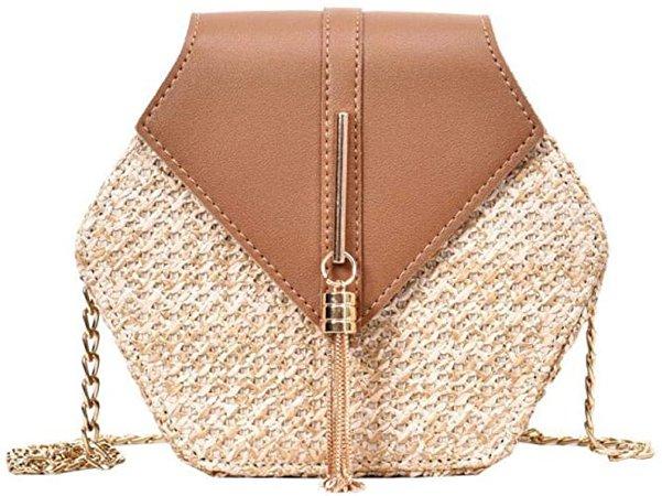 Puedo Exquisite Handmade Straw Bag Women Rattan Woven Shoulder Bag Summer Beach Crossbody Bag With Chain, Brown