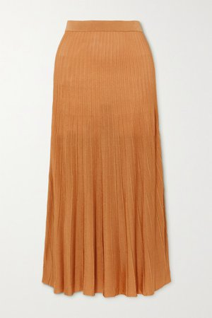 Ribbed-knit Midi Skirt - Gold