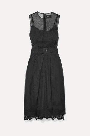 Belted Tulle Midi Dress - Black