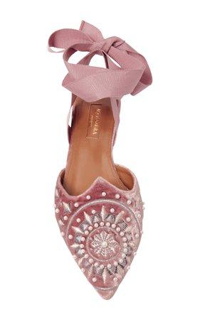 Aquazurra   Stellar embellished velvet slippers