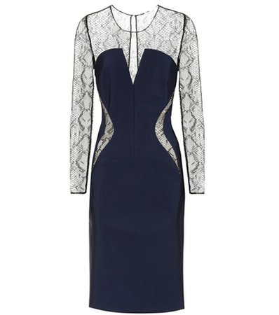 Lace-panelled jersey dress