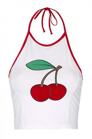 Trendy Contrast Trim Halter Neck Open Back Cherry Pattern Cropped White Cami Top - Beautifulhalo.com