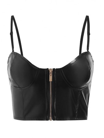 [27% OFF] 2020 Zip Up Bustier Faux Leather Crop Top In BLACK | ZAFUL