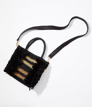 Fringe Straw Crossbody Bag