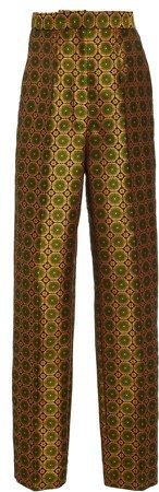 Maxima Jacquard Straight-Leg Pants